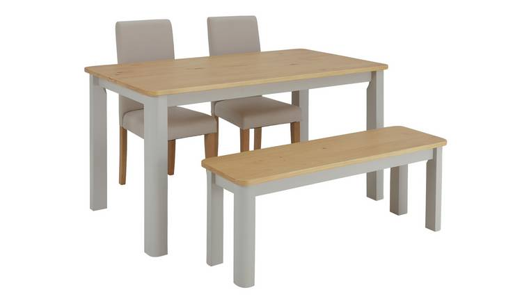 Buy Argos Home Bournemouth Wood Table 2 Cream Chairs Bench Dining Table And Chair Sets Argos