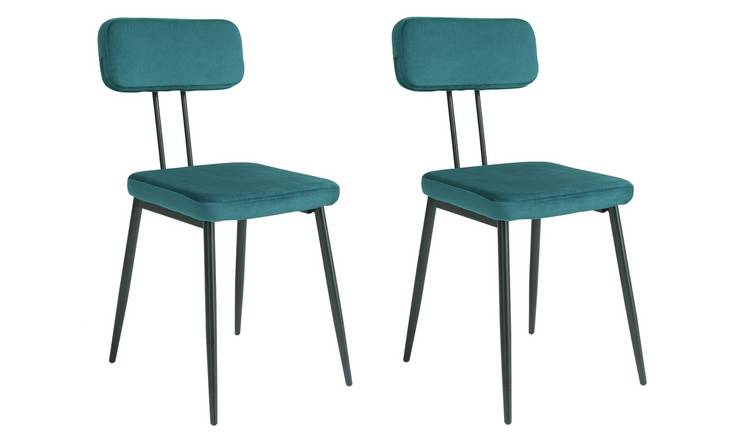 Argos Home Beatrice Pair of Velvet Dining Chairs - Teal
