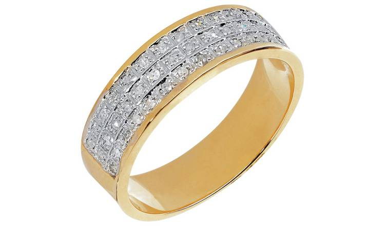 Revere Mens 9ct Gold 0.20ct tw Diamond Band Ring - T