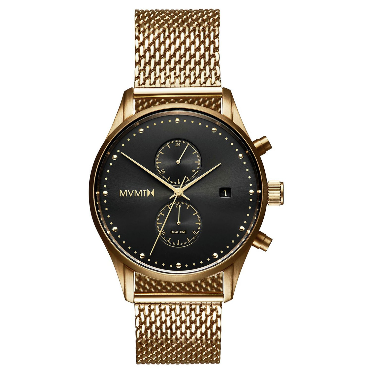 MVMT Men's Voyager Gold Plated Mesh Strap Watch