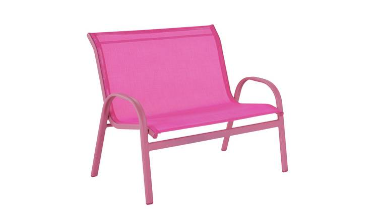 Argos Home Kids 2 Seater Metal Garden Bench - Pink