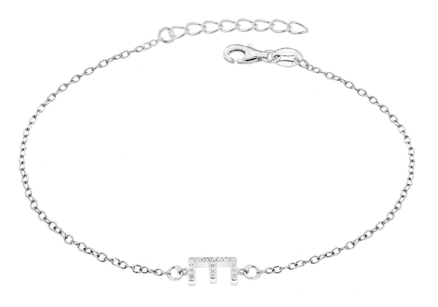Sterling Silver Cubic Zirconia Initial Bracelet - E