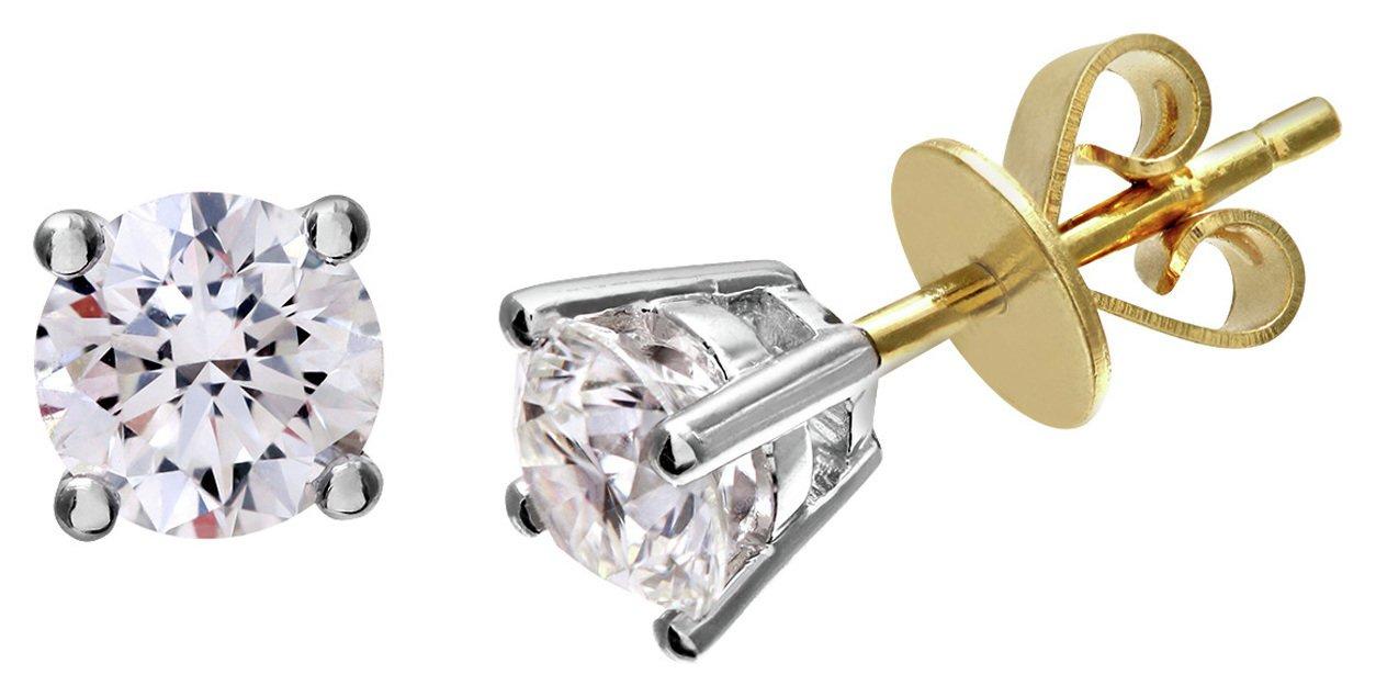 Everlasting Love - 18 Carat Gold - 1 Carat Diamond Earrings.
