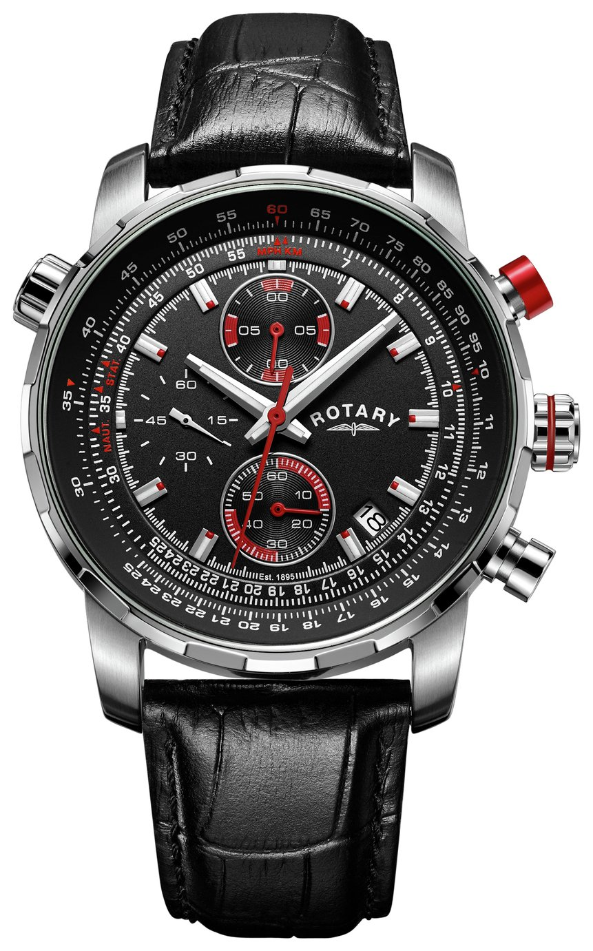 Rotary Men's Interchangeable Leather Strap Chronograph Watch