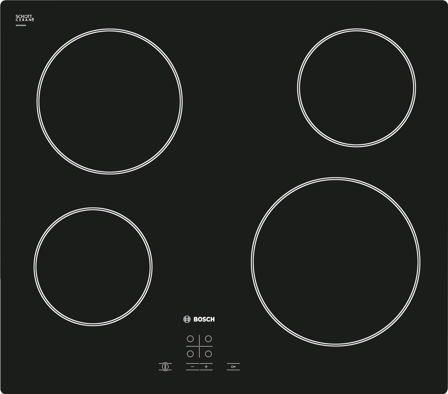 Bosch - PKE611D17E 4 Zone Quick-Therm Hob - Black