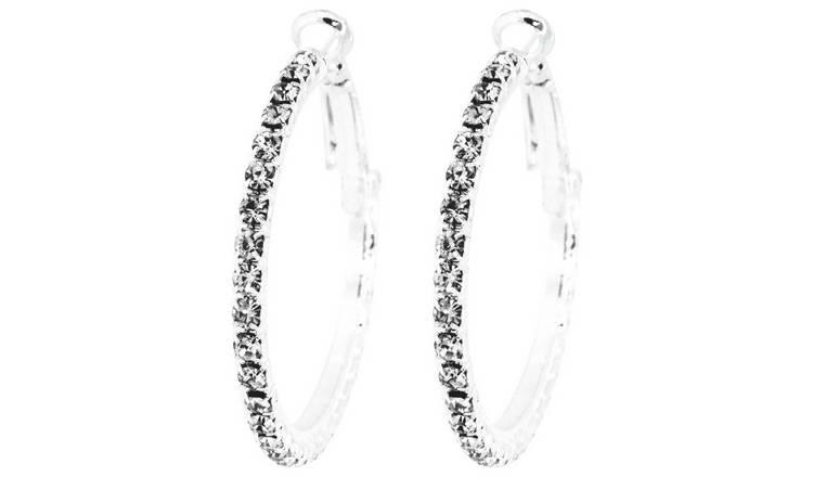 d921c62f87c Buy Link Up Large Diamante Hoop Earrings   Womens earrings   Argos