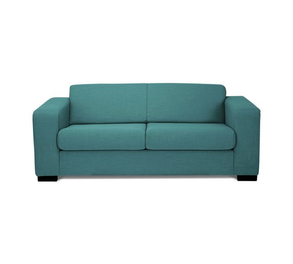 Buy hygena new ava 2 seater fabric sofa bed teal at for Sofa bed 1 seater