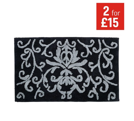 buy home damask bath mat black at your. Black Bedroom Furniture Sets. Home Design Ideas