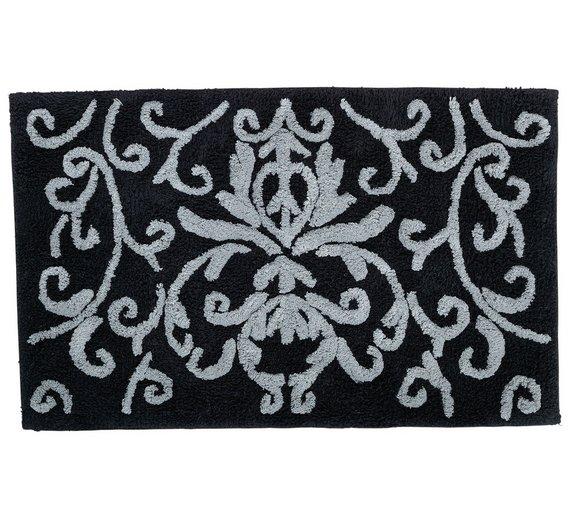 Buy home damask bath mat black at argoscouk your for Black and white damask bath mat