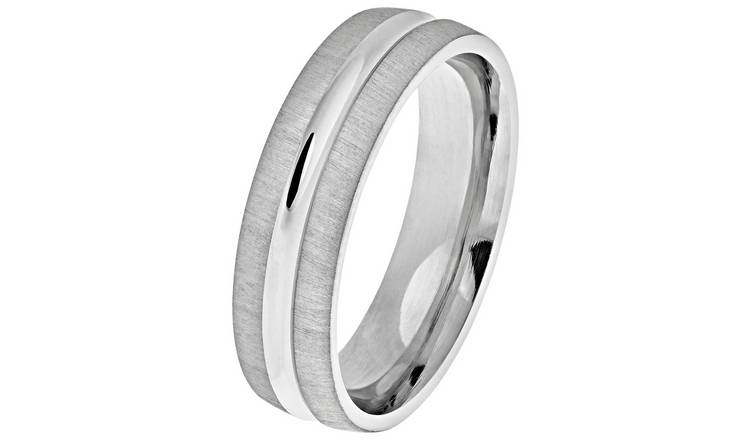 Revere Sterling Silver Matte Groove Wedding Ring - 6mm - L
