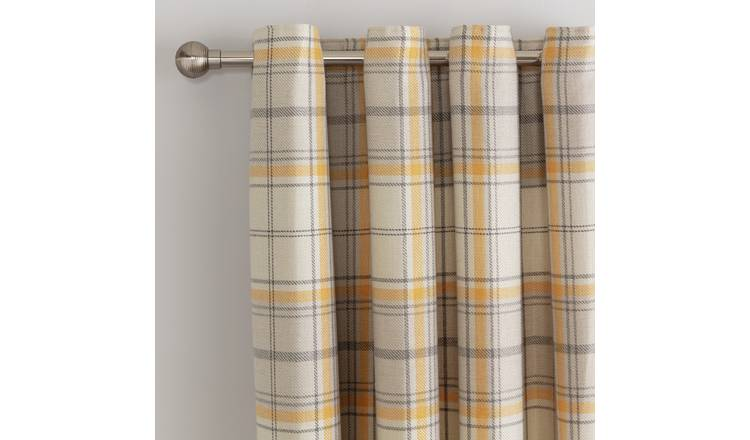 Argos Home Checked Fully Lined Eyelet Curtains - Mustard