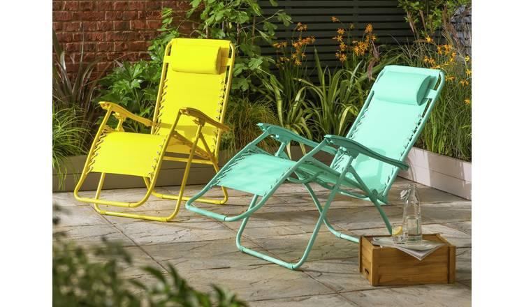 Buy Argos Home Zero Gravity Sun Lounger Yellow Garden Chairs And Sun Loungers Argos