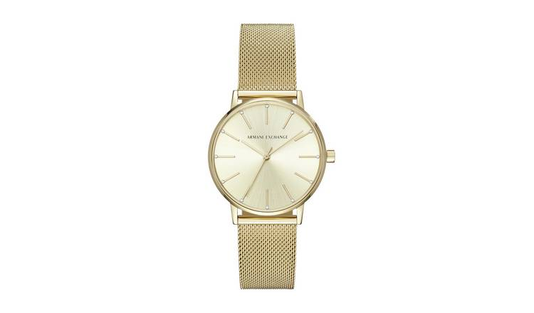 Armani Exchange Ladies Lola Gold Mesh Strap Watch