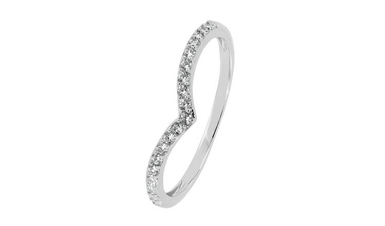 Revere 9ct White Gold Cubic Zirconia Wishbone Ring - V
