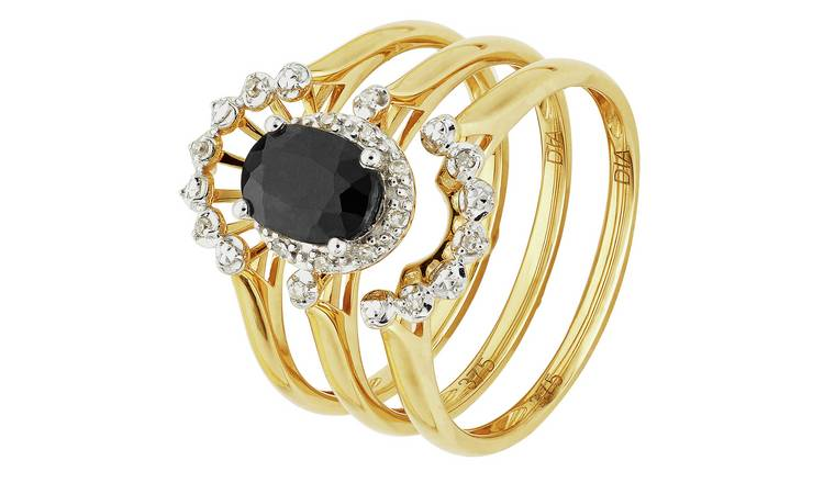 Revere 9ct Gold Sapphire Diamond Bridal Ring Set - O