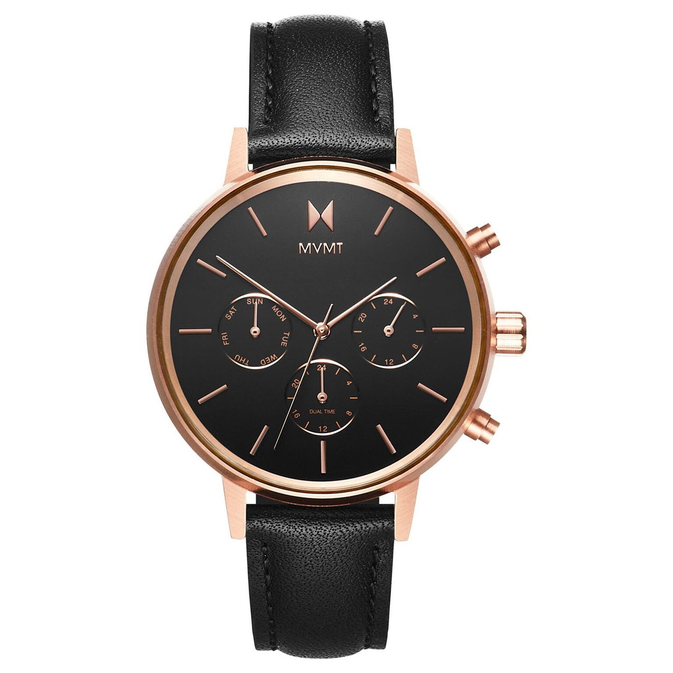 MVMT Ladies Nova Black Leather Strap Watch