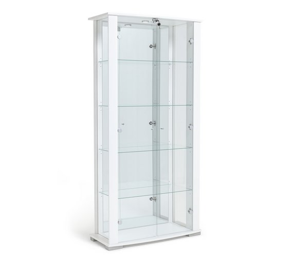 Buy Home Stella 2 Door Glass Display Cabinet White Gloss Display