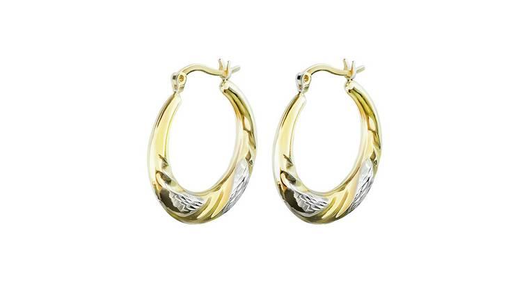 ed2732264 Buy Revere Sterling Silver/9ct Bonded Gold Creole Hoop Earrings ...