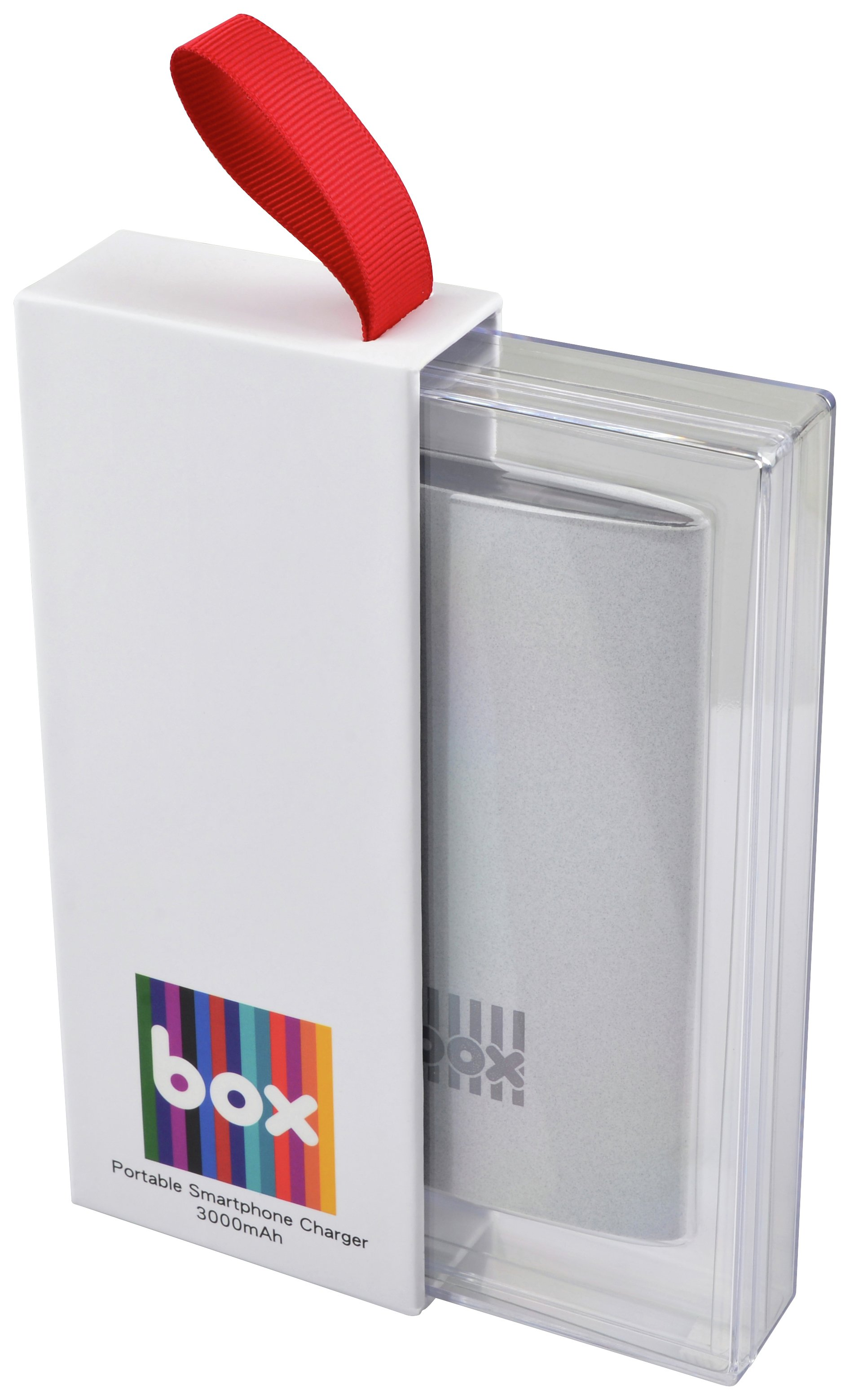 Image of BOX 3000mAh Portable Smartphone Charger - Grey.