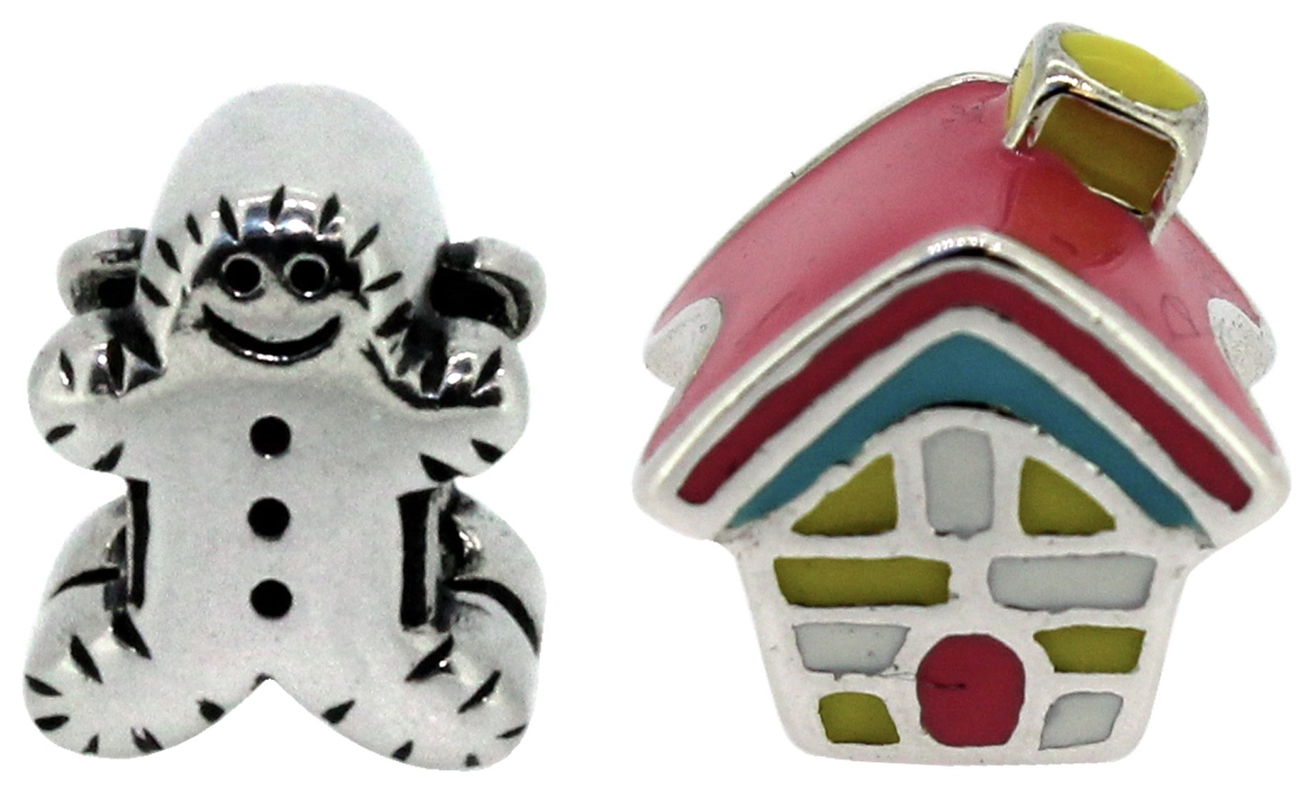 Miss Glitter S.Silver Kids Gingerbread Man and House Charms.