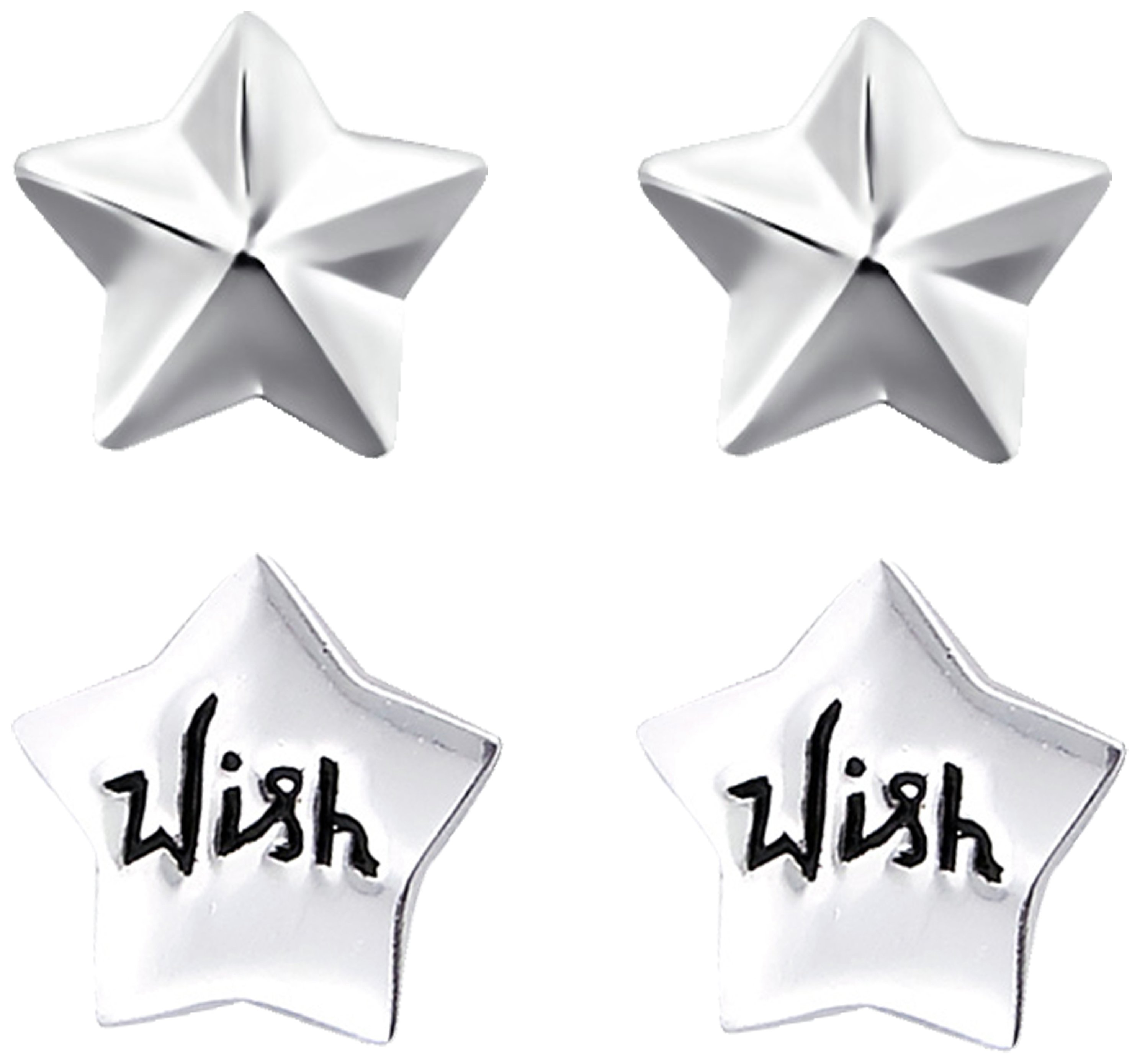 Link Up - Sterling Silver - Wish on a Star Earrings - Set of 2.