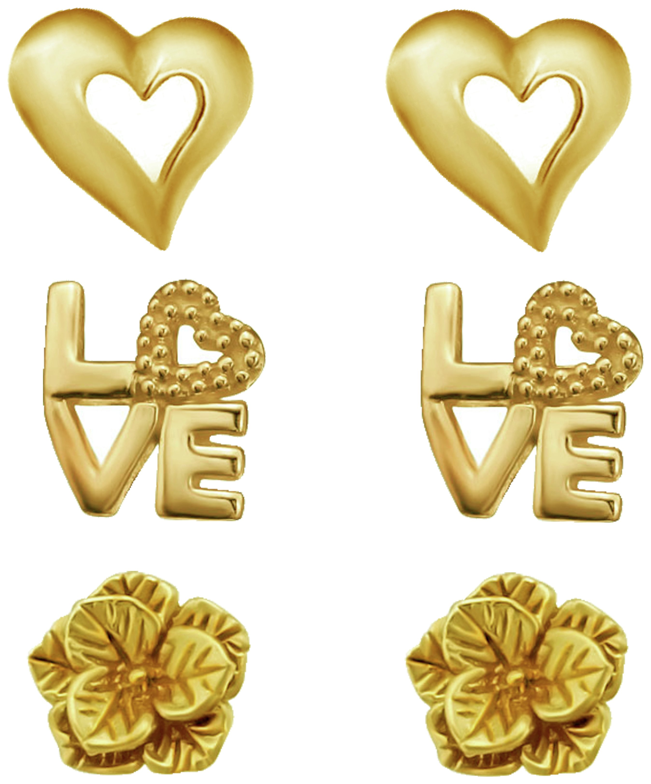 Link Up - GP S.Silver Heart Love and Flower Earrings -Set of 3