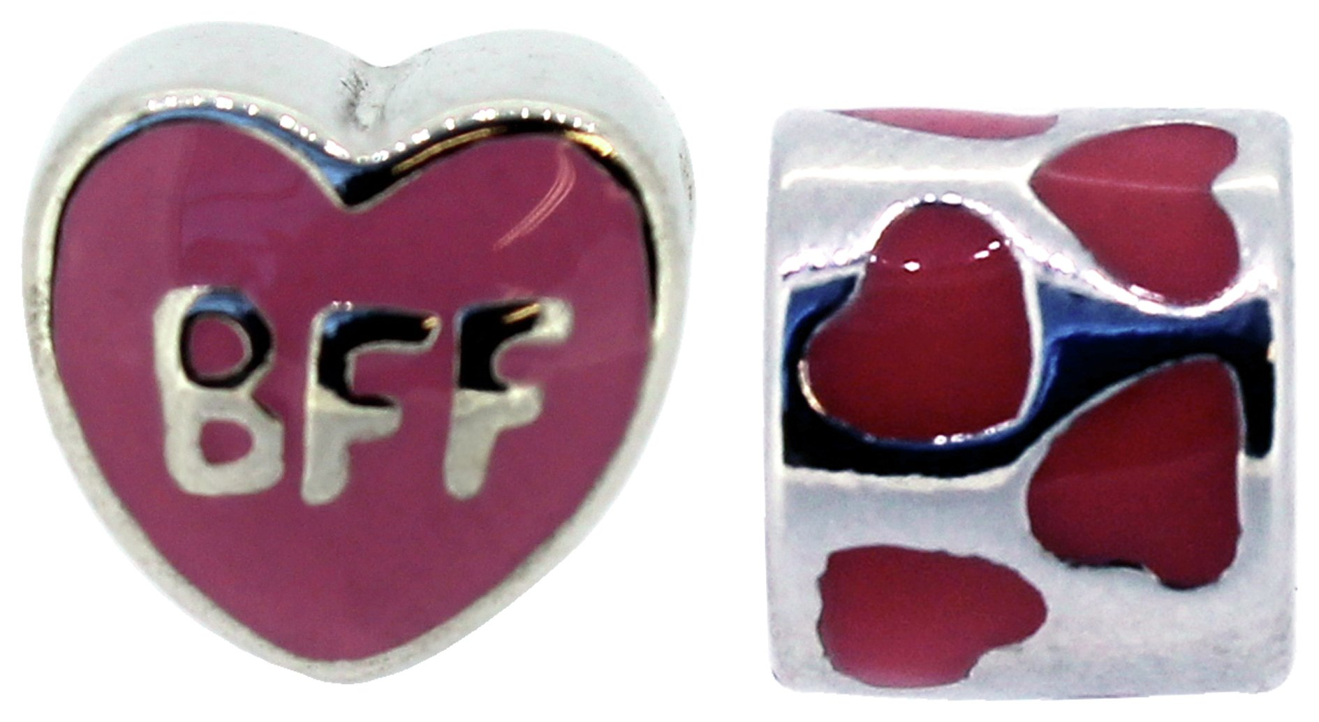 Miss Glitter S.Silver Kids BFF Enamel Charms - Set of 2.