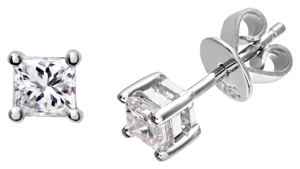 18 Carat White Gold - 0.50 Carat Diamond Earrings.