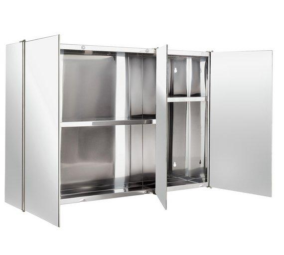 Buy HOME 3 Door Mirrored Bathroom Cabinet