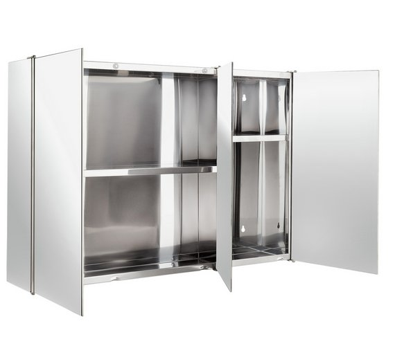 Buy home 3 door mirrored bathroom cabinet stainless for Argos kitchen cabinets