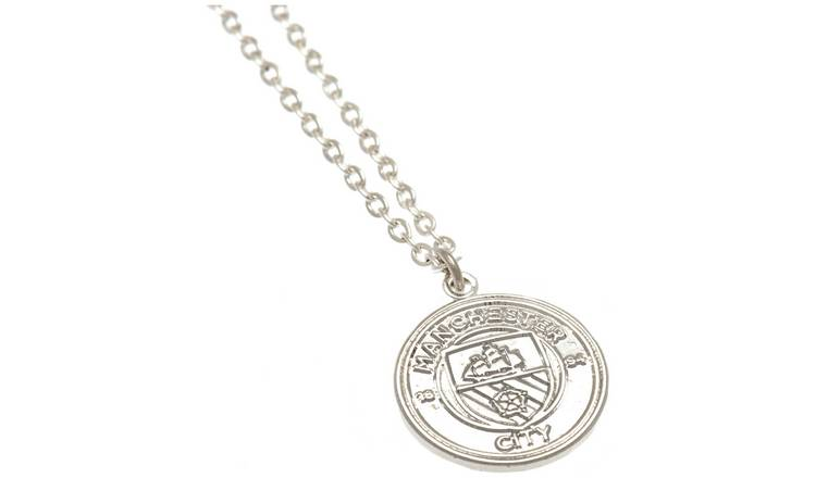 Silver Plated Man City Pendant and Chain
