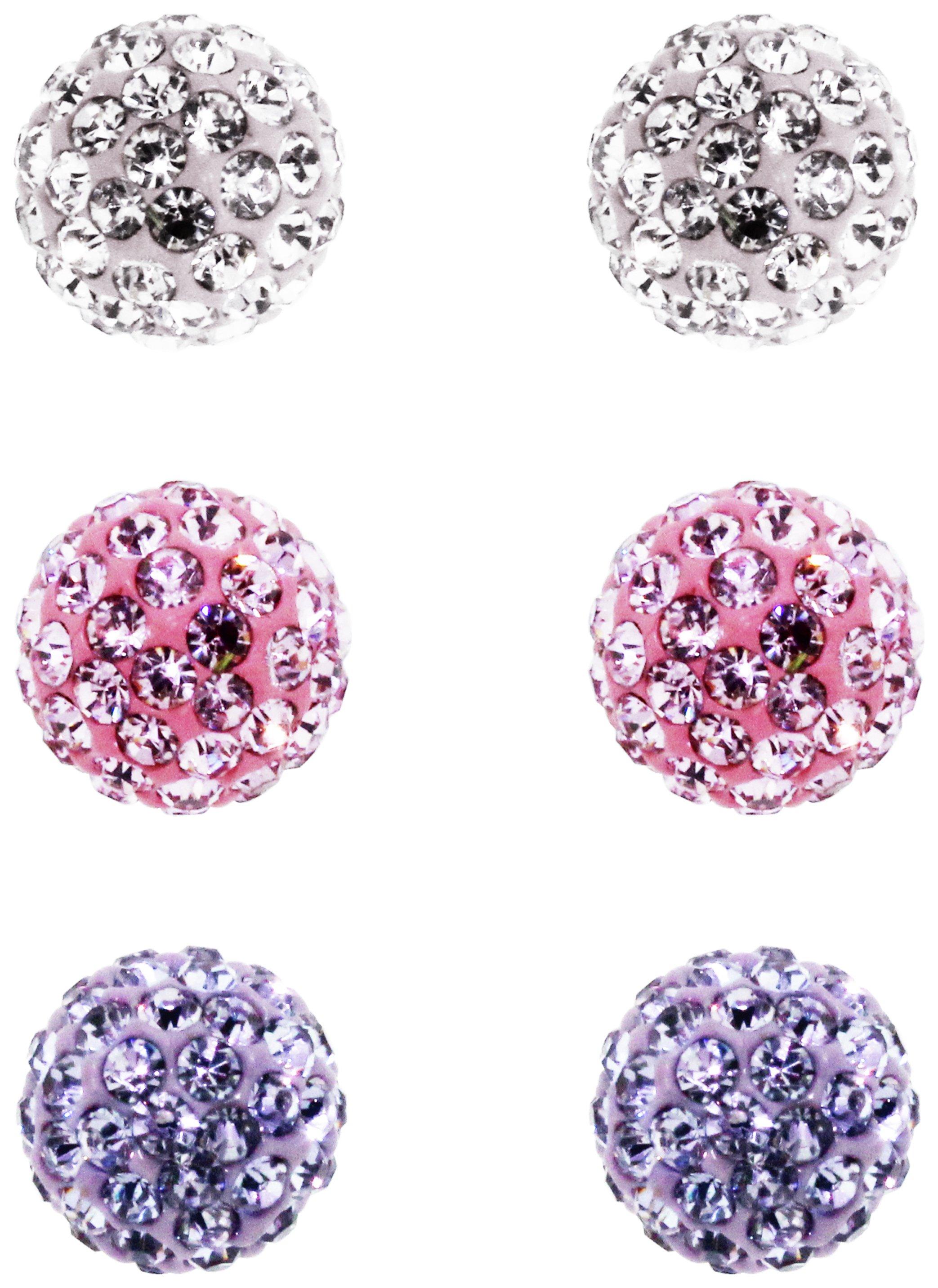 Link Up Sterling Silver Set of 3 Glitter Ferido Earrings review