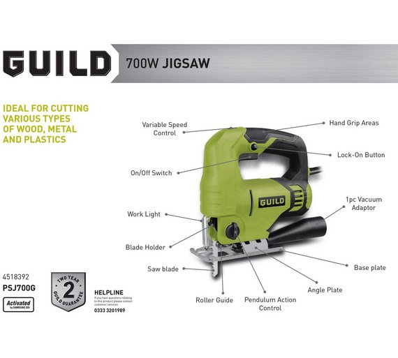 Buy guild variable speed jigsaw 710w saws argos play video greentooth Gallery