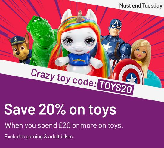 Save 20% on toys when you spend £20 or more on toys with code: TOYS20.
