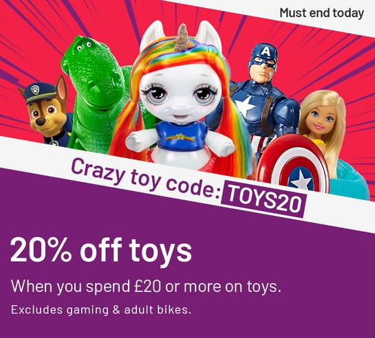Crazy toy code: TOYS20. 20% off toys when you spend £20 or more on toys. Excludes gaming & adult bikes. Must end today.