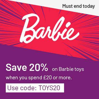 Save 20% on Barbie toys when you spend £20 or more. Use code: TOYS20. Must end today.