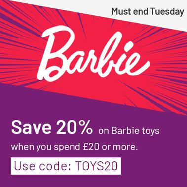 Save 20% on Barbie when you spend £20 or more with code: TOYS20. Must end Tuesday.