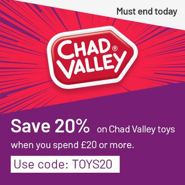 Save 20% on Chad Valley toys when you spend £20 or more. Use code: TOYS20. Must end today.