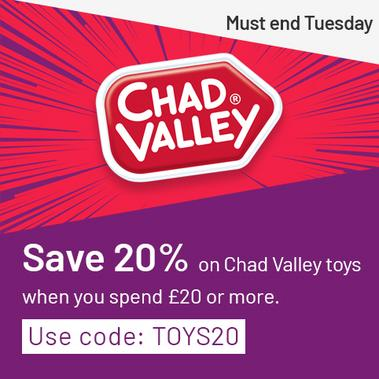 Save 20% on Chad Valley when you spend £20 or more with code: TOYS20. Must end Tuesday.