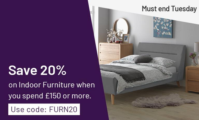 Save 20% on indoor furniture when you spend £150 or more with code FURN20. Must end Tuesday.