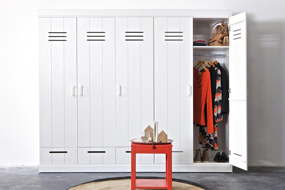 Five door wardrobe with locker style doors.
