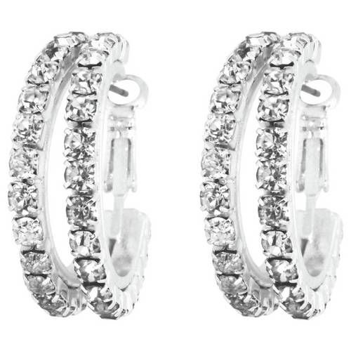 """9ct 9k /""""GOLD FILLED/"""" 4x16mm Hoop Earrings Made With Swarovski Crystal GIFT Small"""