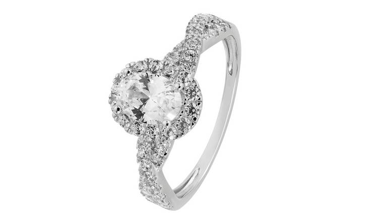 Revere 9ct White Gold Cubic Zirconia Twist Shoulder Ring - S