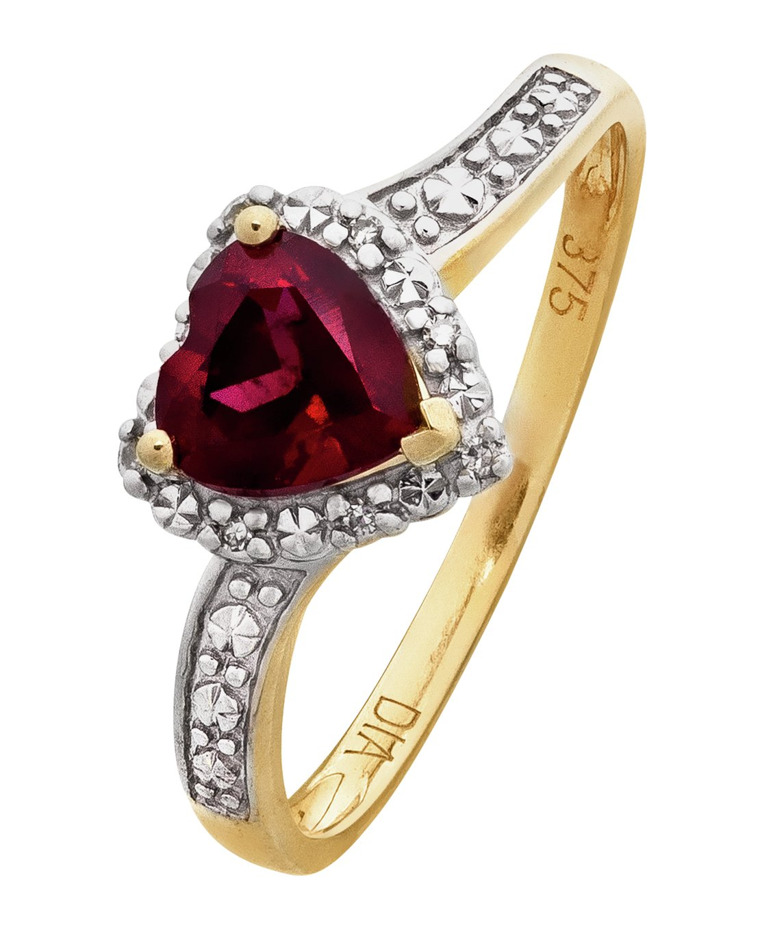 Revere 9ct Gold Ruby and Diamond Accent Heart Ring - N
