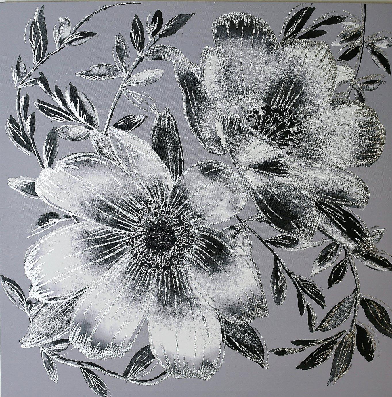 Arthouse Dark Intense Silver Floral Canvas Wall Art