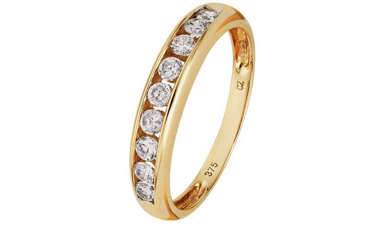 Revere 9ct Gold Cubic Zirconia 9 Stone Eternity Ring - L