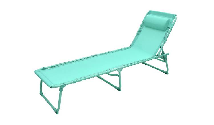 Argos Home Metal Set of 2 Sun Loungers - Teal