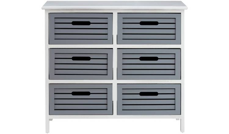 Premier Housewares Vermont 6 Drawer Unit - Grey.