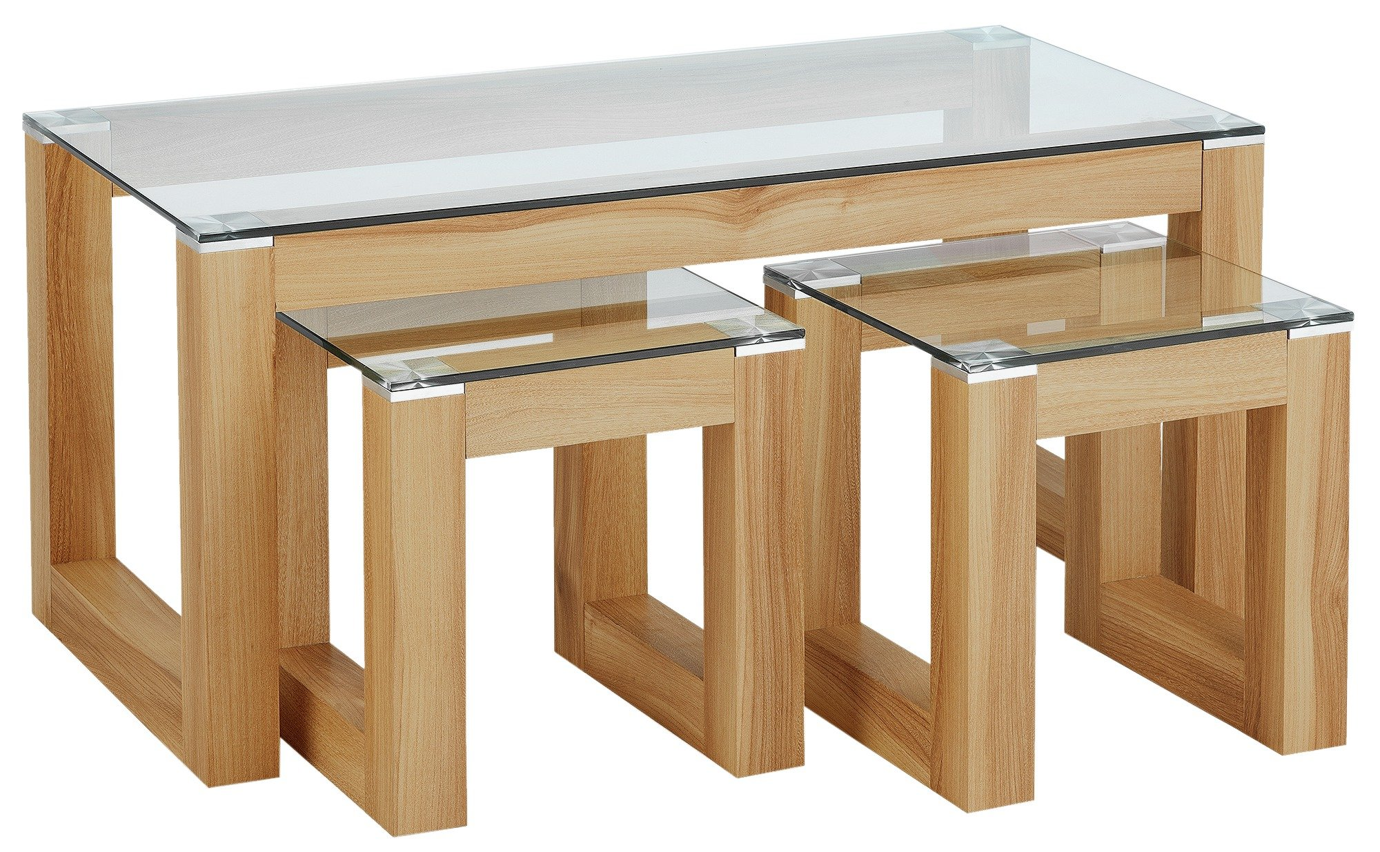 Hygena Cubic Coffee Table Set With 2 Side Tables