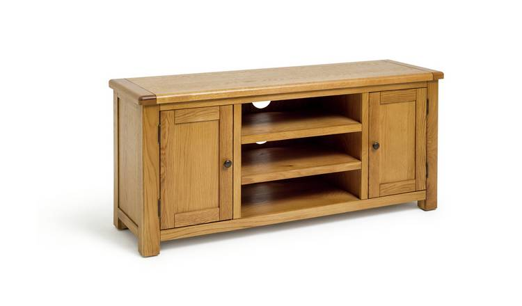 Habitat Kent 2 Door Oak & Oak Veneer Low TV Unit